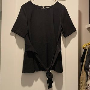 Black Ichi blouse with tie waist